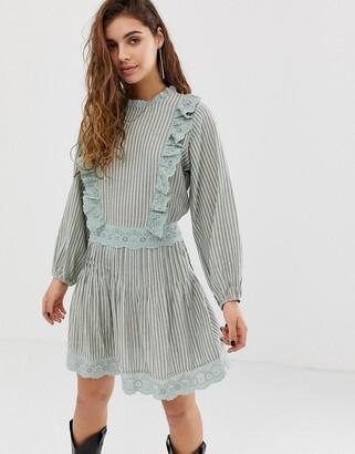 Asos Design DESIGN casual mini skater dress with broderie trims in stripe-Multi