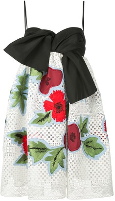 Carolina Herrera Floral Appliques Mini Dress