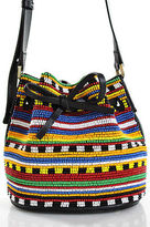 Les Petits Joueurs Black Leather Beaded Mini Dahlia Bucket Handbag