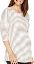 Asstd National Brand Maternity 3/4-Sleeve Striped Ribbed Tunic