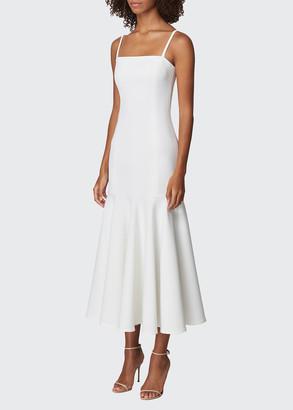 Carolina Herrera Crepe Drop-Waist Flounce Midi Dress