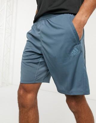 adidas Training 3 stripe shorts in blue
