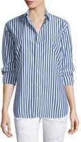 Rag & Bone Button-Front Striped Boyfriend Shirt, Navy/White Stripe
