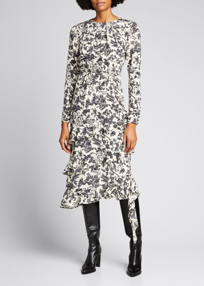 Jason Wu Printed Asymmetric Ruffle Dress