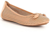 Montana Ramosa Bow Detail Laser-Cut Leather Slip-On Flats