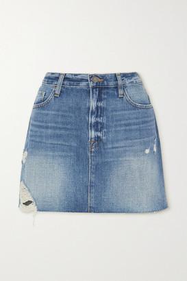 Frame Le Mini Distressed Denim Skirt - Light denim
