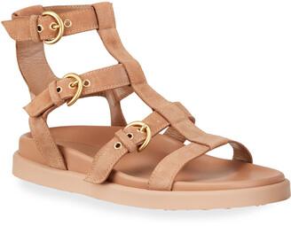 Gianvito Rossi Suede Flat Gladiator Sandals