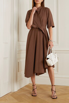 Thumbnail for your product : Brunello Cucinelli Belted Bead-embellished Pinstriped Woven Midi Shirt Dress - Brown