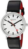 Mondaine Men's Quartz Watch with White Dial Analogue Display and Black Leather Strap A660.30314.16SBB