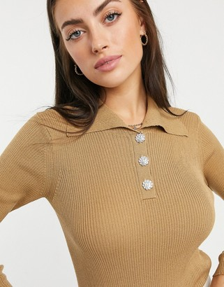 Vila knitted long sleeve button detail top in beige