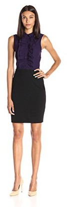 Lark & Ro Amazon Brand Women's Sleeveless Crepe Ruffle Top Ponte Skirt Dress