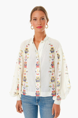 Warm Ivory Tory Floral Blouse