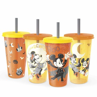 Zak Designs Disney Tumbler with Lid and Straw Set Glow-in-the-Dark Halloween Party Cups 4pc (24oz