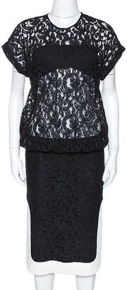 N°21 N21 Black Lace Contrast Hem Detail Dropped Waist Dress M