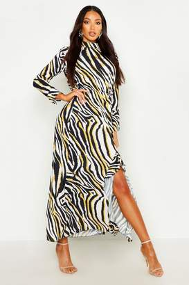 boohoo Woven High Neck Ruffle Split Maxi Dress