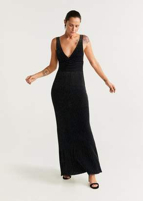 MANGO Metallic thread long dress black - 4 - Women
