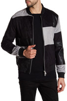 Religion Faux Leather & Suede Colorblock Patch Bomber Jacket
