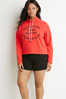 Forever 21 FOREVER 21+ Plus Size Nowhere Graphic Drawstring Sweatshirt