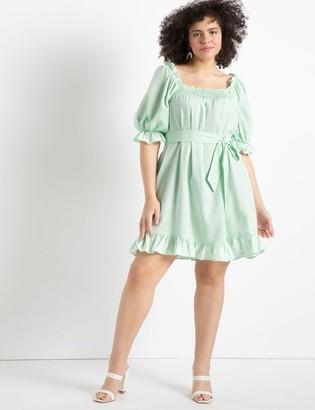 ELOQUII Smocked Front Mini Day Dress
