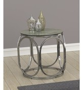 BEIGE Round End Table Marble And Chrome Orren Ellis