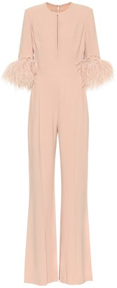 Elie Saab Exclusive to Mytheresa - Feather-trimmed crepe jumpsuit