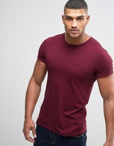 Jack Wills T-Shirt With Pocket In Slim Fit In Damson Nep