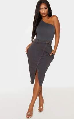 PrettyLittleThing Shape Charcoal Wrap Denim Midi Skirt