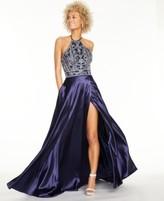 Blondie Nites Juniors' Embroidered Satin Halter Ball Gown