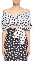 Off-White Convertible Puff-Sleeve Dot-Print Blouse