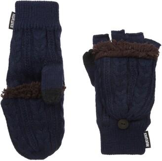 Muk Luks Men's Fingerless Flip Mittens-Blue One Size