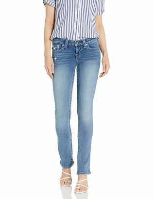 True Religion Women's Billie Mid Rise Straight Leg fit Jean with Back Flap Pockets
