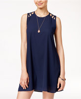 Speechless Juniors' Lattice-Shoulder Shift Dress