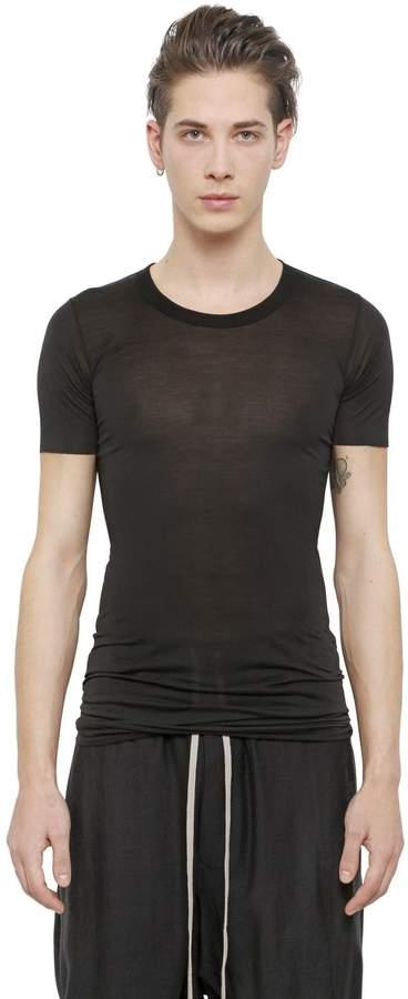 Rick Owens Crewneck Cotton Jersey Long T-Shirt