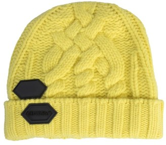Off-White Off White Logo Patch Cable Knit Beanie