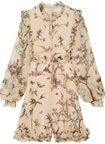 Zimmermann Maples Ruffled Printed Crinkled Silk-georgette Playsuit - Cream