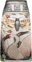 Gucci illustration print midi skirt - women - Silk/Cotton/Viscose - 40