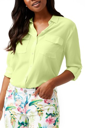 Tommy Bahama Long Sleeve Pocket Silk Blouse