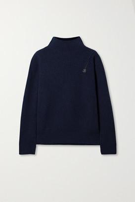 Akris Ribbed Cashmere Turtleneck Sweater - Navy