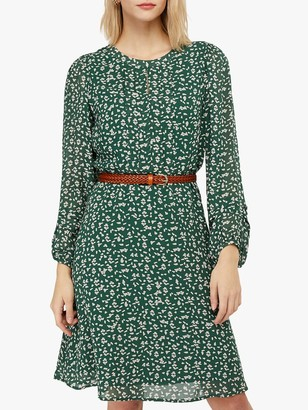 Monsoon Marty Print Dress, Green