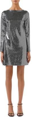 Gucci Square-G Buckle Long Sleeve Metallic Dot Jersey Minidress