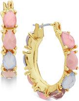 Nine West Gold-Tone Multicolor Stone Hoop Earrings