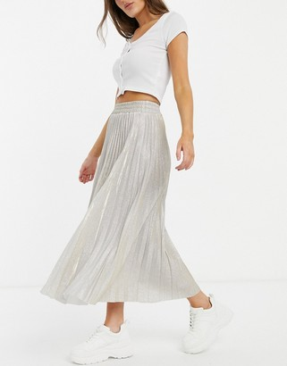 New Look glitter pleated midi skirt in gold