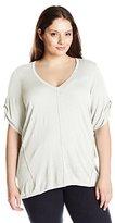 Calvin Klein Women's Plus-Size V-Neck Slub Sweater