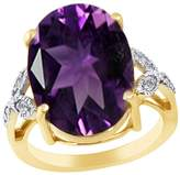 Jewel Zone US Simulated Amethyst & White Topaz CZ Silver Cocktail Ring In 14k Gold Over Sterling Silver (10.99 Cttw)