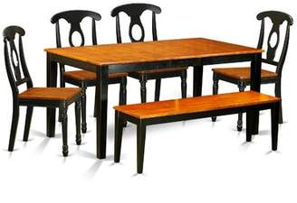 August Grove Cleobury Traditional 6 Piece Wood Dining Set with Rectangular Table Top August Grove Finish: Black / Cherry