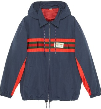 Gucci logo patch hooded windbreaker