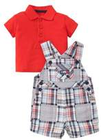 Little Me Baby Boy's Cotton Patchwork Shortall and Polo Set