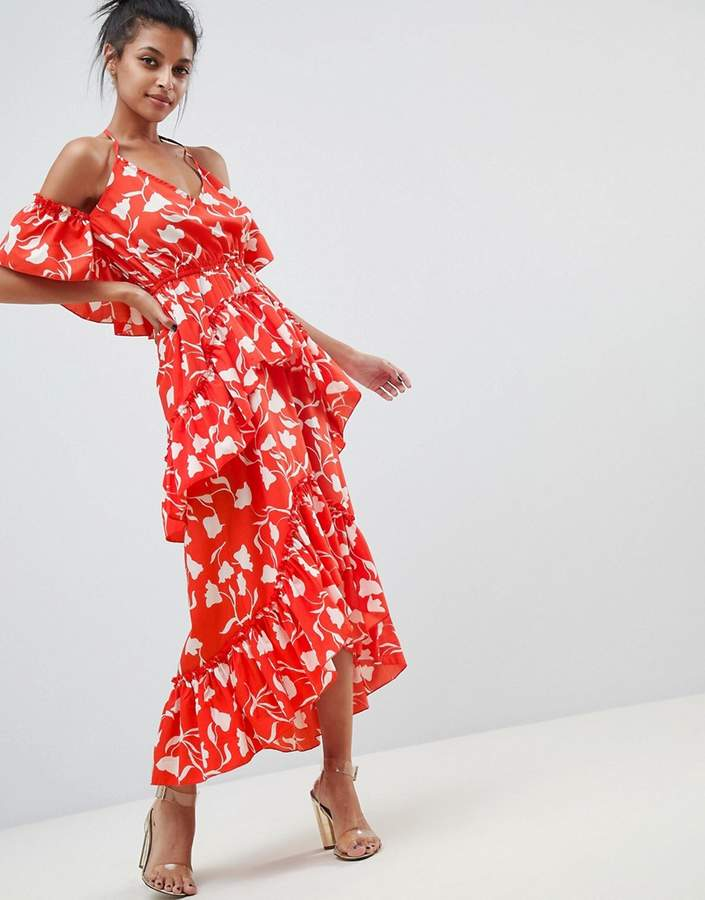 Asos Design DESIGN senorita floral print tiered frill halter maxi beach dress