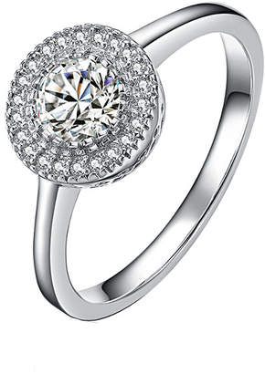 Genevive Silver Cz Halo Ring