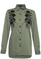 Quiz Khaki and Black Floral Embroidered Shirt